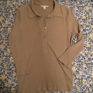 Knit 3/4 sleeve polo
